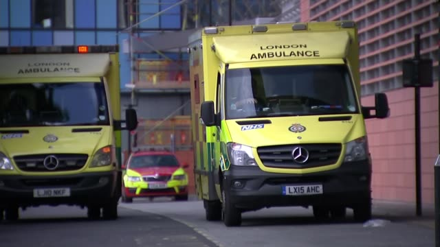 NHS cyber hack dominates election campaigning Whitechapel Ambulance outside Royal London Hospital Accident and Emergency department entrance