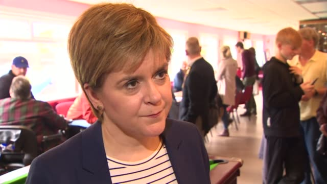 Nicola Sturgeon visits Edinburgh bowling club SCOTLAND Edinburgh Liberton Bowling Club INT Nicola Sturgeon MSP interview SOT re triple lock pensions...