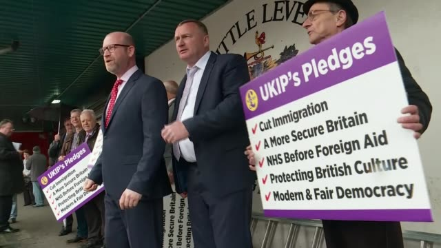 paul nuttall in bolton england greater manchester bolton ext paul nuttall photocall with ukip supporters / nuttall meeting people in street and going... - bolton greater manchester stock videos and b-roll footage