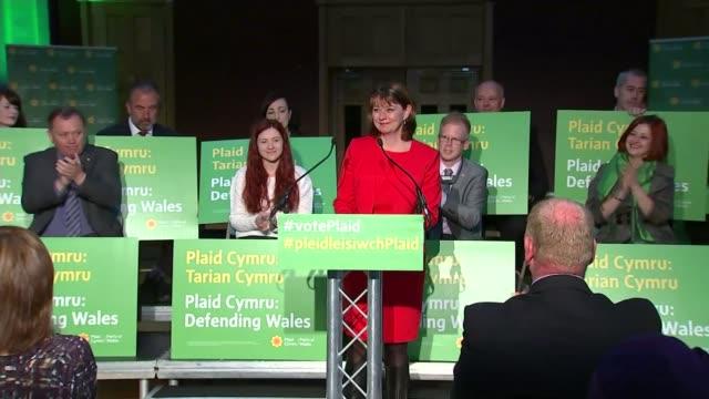 plaid cymru unveil manifesto wales rhondda int leanne wood am along to podium at manifesto launch various of wood at press conference 'plaid cymru... - plaid stock videos and b-roll footage