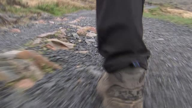 reaction of walkers in snowdonia general election 2017 reaction of walkers in snowdonia wales snowdonia ext various of stream flowing over rocks... - snowdonia video stock e b–roll