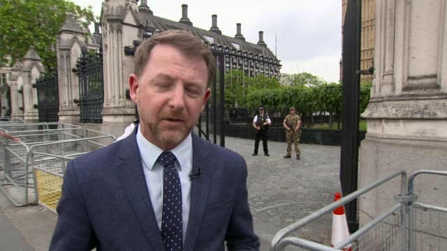 security issue dominates election campaigning again westminster ext reporter to camera/ armed police and british soldier on guard at palce of... - itv weekend late news点の映像素材/bロール