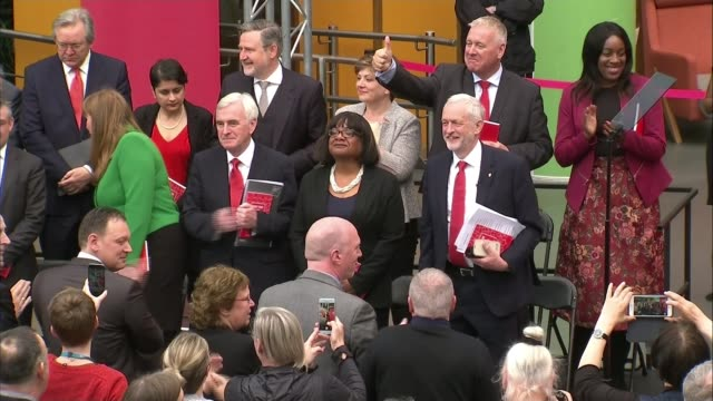security issue dominates election campaigning again lib england bradford university int labour party manifesto launch jeremy corbyn stands on stage... - british labour party stock videos & royalty-free footage