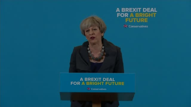 Theresa May and Jeremy Corbyn clash over Brexit ENGLAND Teeside EXT Theresa May out of car and shaking hands Theresa May speech SOT Twelve months on...