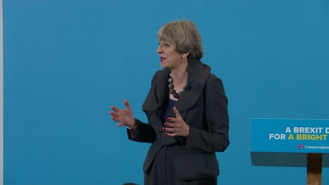 general election 2017: theresa may and jeremy corbyn clash over brexit; reporter asking question sot - you mention the eight billion for the health... - michael barry stock videos & royalty-free footage