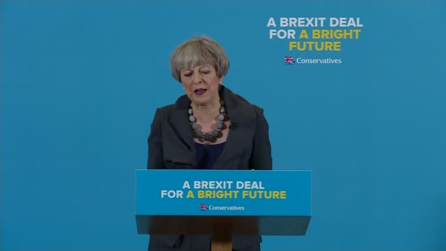 Theresa May and Jeremy Corbyn clash over Brexit ENGLAND Teeside Case Construction INT Thersa May speech SOT if you put your trust in me back me I...