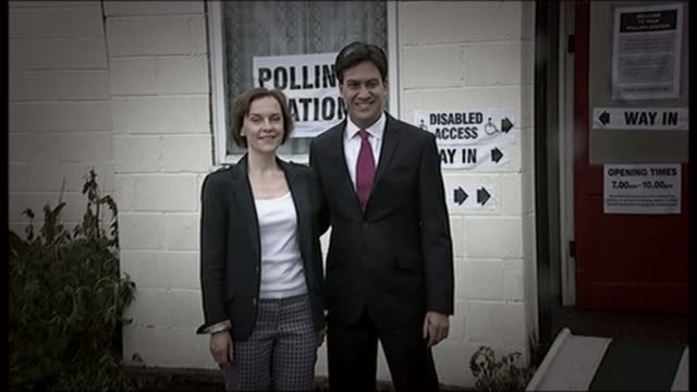 theresa may appears on 'the one show' with husband graphicised sequence ed miliband mp and wife justine miliband outside polling station / then... - ニック クレッグ点の映像素材/bロール