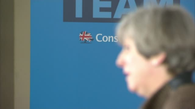 theresa may pledges to reduce net migration to the tens of thousands england london harrow int patrick mcloughlin introducing theresa may to audience... - harrow stock videos & royalty-free footage