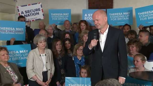 stockvideo's en b-roll-footage met theresa may speech in dewsbury england west yorkshire dewsbury int william hague introduction sot theresa may speech sot - william hague