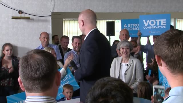 stockvideo's en b-roll-footage met theresa may speech in dewsbury ext theres may and william hague arrival cutways of hague and may speeches - william hague