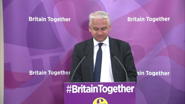 ukip economic spokesman press conference patrick o'flynn mep press conference and question and answer session sot - spokesman stock videos and b-roll footage