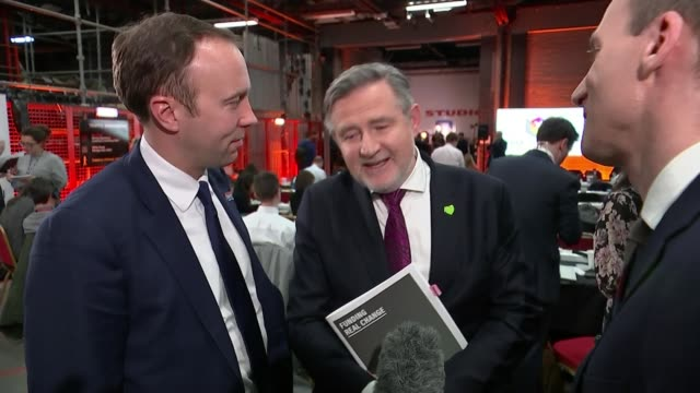 general election 2019: boris johnson and jeremy corbyn bbc tv debate; uk: kent: matt hancock and barry gardiner interview in 'spin room' following... - pulsating stock videos & royalty-free footage