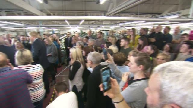 general election 2019: boris johnson speech in matlock - cutaways; england: derbyshire: matlock: john smedley factory: int boris johnson along... - derbyshire stock videos & royalty-free footage