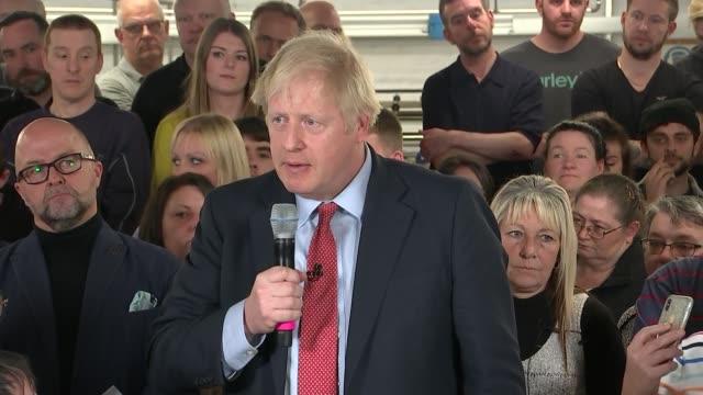 general election 2019: boris johnson speech in matlock; england: derbyshire: matlock: john smedley factory: int boris johnson question and answer... - derbyshire stock-videos und b-roll-filmmaterial