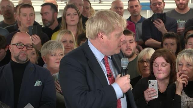 general election 2019: boris johnson speech in matlock; england: derbyshire: matlock: john smedley factory: int boris johnson speech sot part 2 of 3 - derbyshire stock-videos und b-roll-filmmaterial