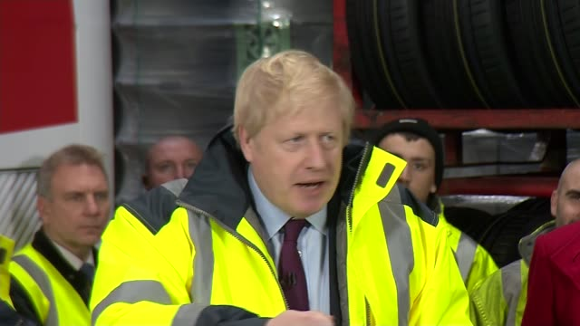 general election 2019: boris johnson speech in tyne and wear; england: tyne and wear: washington : int boris johnson question and answer session sot... - bbc stock videos & royalty-free footage