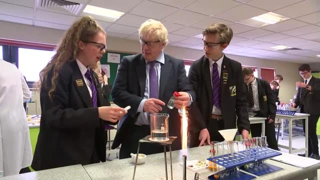 boris johnson visits chulmleigh community college in devon england devon chulmleigh chulmleigh community college int various of boris johnson joins... - the earth: a film lesson in general science stock videos & royalty-free footage