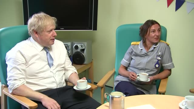 general election 2019: boris johnson visits west cornwall hospital; ** intermittent picture break-up ** england: cornwall: penzance: west cornwall... - refreshment stock videos & royalty-free footage