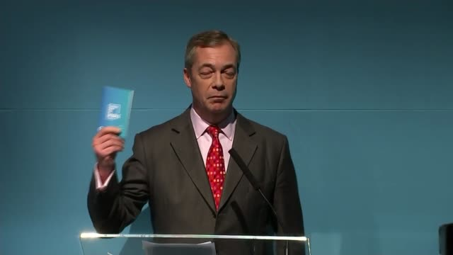 brexit party launches contract with the voters england london int nigel farage mep at podium for the launch of their contract with the voters - nigel farage stock videos & royalty-free footage