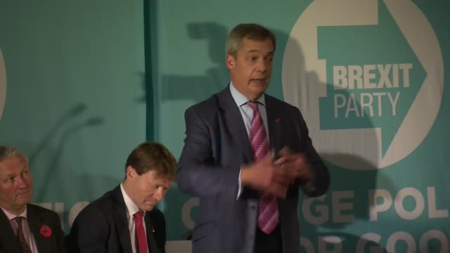 general election 2019: brexit party rally in sedgefield; england: county durham: sedgefield: int **beware flash photography** nigel farage mep speech... - nigel farage stock videos & royalty-free footage