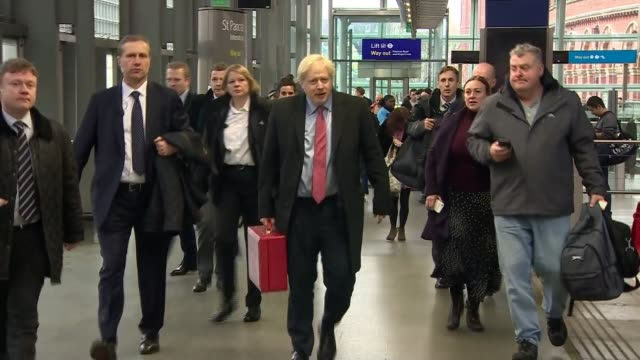 general election 2019: brexit: sir john major intervention / northern ireland border row; england: london: st pancras station: int boris johnson... - european union stock videos & royalty-free footage