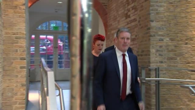 general election 2019: brexit: sir john major intervention / northern ireland border row; england: london: euston: unison centre: gv keir starmer... - keir starmer stock videos & royalty-free footage