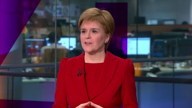 channel 4 news climate debate ***must england london gir nicola sturgeon responding to question sot on personal resolutions to cut carbon footprint... - carbon footprint stock videos and b-roll footage