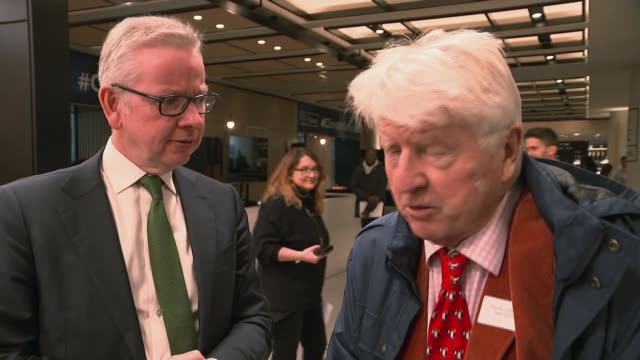 channel 4 news climate debate england london gir int stanley johnson and michael gove interview with reporter sot johnson and gove speaking to press - kansas stock videos & royalty-free footage