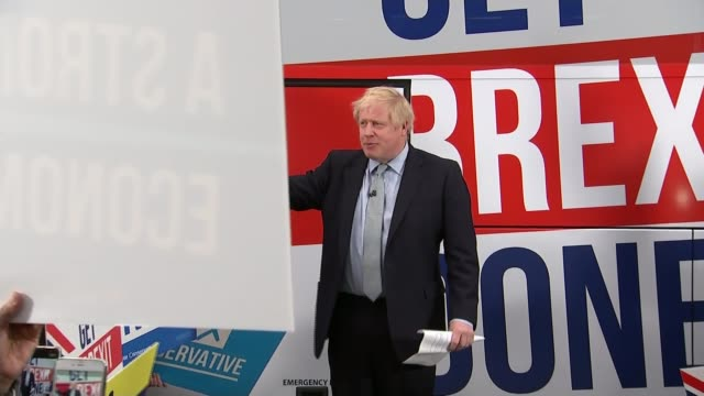 conservative battlebus launch / plan to save high street england greater manchester middleton int boris johnson from conservative party campaign bus... - boris johnson stock videos & royalty-free footage