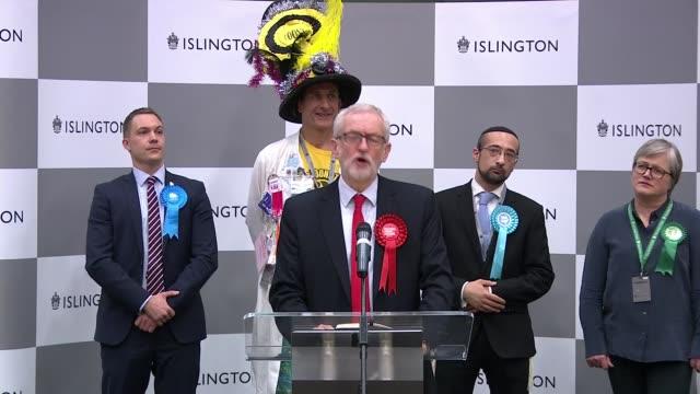 general election 2019: conservative majority: islington north result / jeremy corbyn speech; england: london: islington: int jeremy corbyn mp speech... - islington stock videos & royalty-free footage