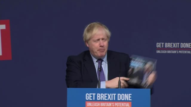 general election 2019: conservative manifesto pledges triple tax lock 000 new nurses and to deliver brexit; england: shropshire: telford: telford... - boris johnson stock videos & royalty-free footage