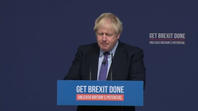 conservative manifesto pledges triple tax lock000 new nurses and to deliver brexit england shropshire telford int boris johnson speech sot we will... - flag stock videos & royalty-free footage