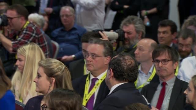 conservative party manifesto launch cutaways england shropshire telford telford international centre int cutaways of boris johnson question and... - sajid javid stock videos & royalty-free footage