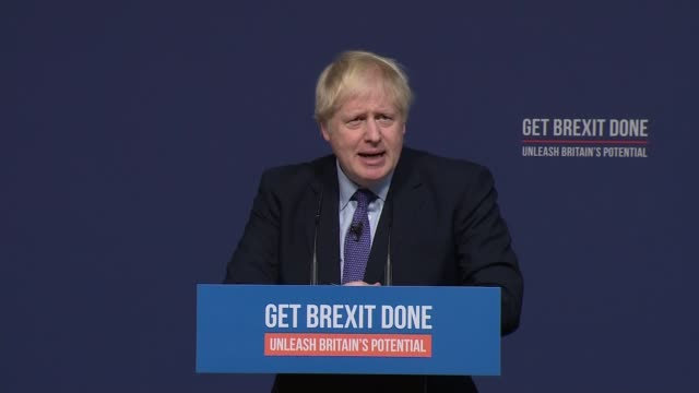general election 2019: conservative party manifesto launch - mixed feed including cutaways; mixed feed of main camera and cutaways england:... - bbc video stock e b–roll