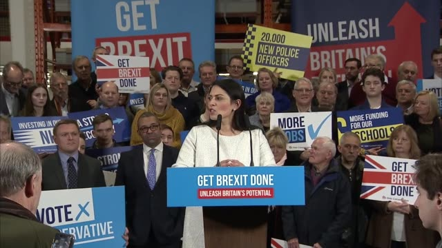general election 2019: conservative party rally in colchester; england: essex: colchester: int priti patel speech to conservative party campaign... - conservative party uk stock videos & royalty-free footage