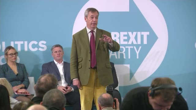 general election 2019: conservative pledge to 'lower' immigration levels; england: east yorkshire: hull: int nigel farage mep onto stage at campaign... - emigration and immigration stock videos & royalty-free footage