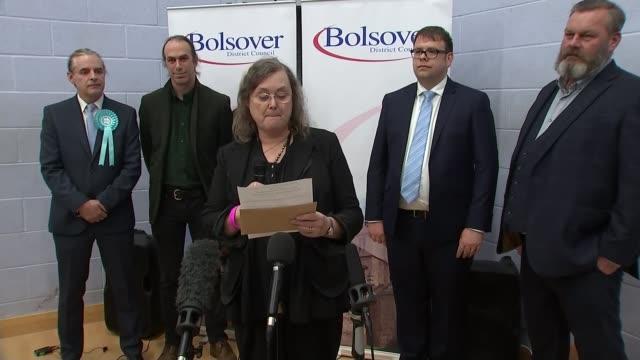 general election 2019: conservatives win majority; england: derbyshire: bolsover: int bolsover declaration - returning officer announces win for mark... - ダービーシャー点の映像素材/bロール