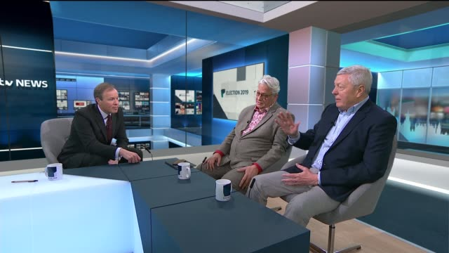 conservatives win majority excerpt itv news general election 2019 results programme england london int alan johnson studio interview sot corbyn was a... - alan johnson stock videos & royalty-free footage