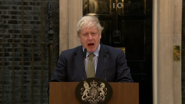 general election 2019: conservatives win majority; uk, london: prime minister boris johnson downing street speech following conservative party... - arid stock videos & royalty-free footage