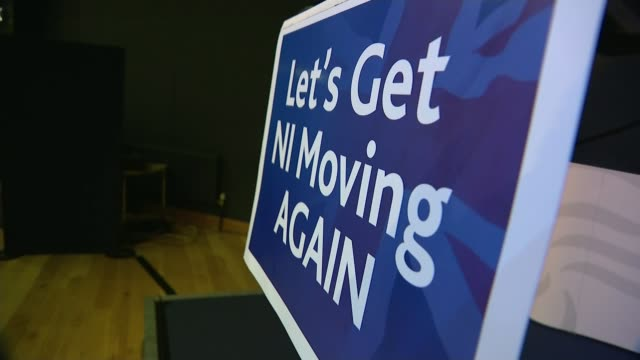 general election 2019: dup launch manifesto; northern ireland: int arlene foster at podium arlene foster speech sot 'let's get ni moving again' sign... - dup stock-videos und b-roll-filmmaterial