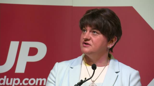 general election 2019: dup launch manifesto; northern ireland: int arlene foster speech sot - dup stock-videos und b-roll-filmmaterial