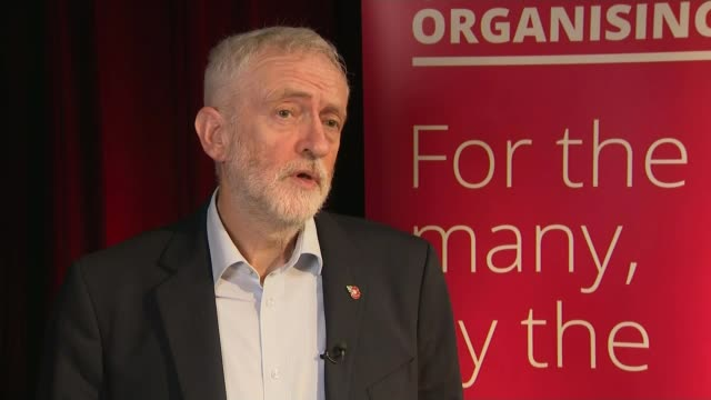 general election 2019: former labour mps back boris johnson for prime minister; england: manchester: int jeremy corbyn mp interview sot. - jeremy corbyn stock videos & royalty-free footage