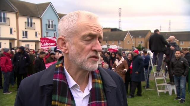 general election 2019: jeremy corbyn announces compensation plans for women affected by state pension reforms; england: essex: thurrock: ext jeremy... - change stock videos & royalty-free footage