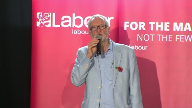 jeremy corbyn campaign event in filton **audio england bristol filton int jeremy corbyn mp speech sot part 7 of 8 - jeremy corbyn stock videos & royalty-free footage