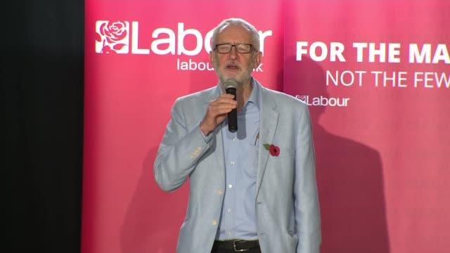 general election 2019: jeremy corbyn campaign event in filton; england: bristol: filton: int jeremy corbyn mp speech sot part 1 of 8 - jeremy corbyn stock videos & royalty-free footage