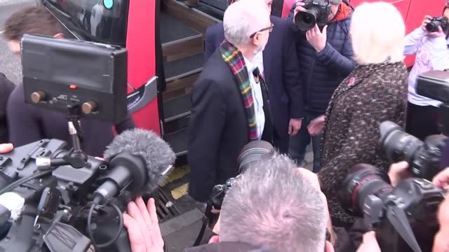 jeremy corbyn campaign speech in glasgow scotland glasgow ext jeremy corbyn from labour party campaign bus accompanied by richard leonard and greeted... - pair stock videos & royalty-free footage