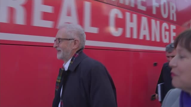 general election 2019: jeremy corbyn campaigns in scotland; scotland: midlothian: newtongrange: national mining museum scotland: ext jeremy corbyn... - jeremy corbyn stock videos & royalty-free footage