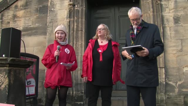 jeremy corbyn campaigns in scotland speech in linlithgow scotland west lothian linlithgow ext jeremy corbyn and others to steps / caitlin kane... - linlithgow stock videos and b-roll footage