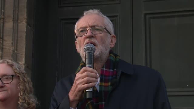 jeremy corbyn campaigns in scotland speech in linlithgow scotland west lothian linlithgow ext jeremy corbyn speech sot - linlithgow stock videos and b-roll footage