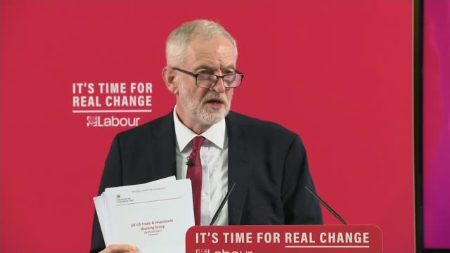 general election 2019: jeremy corbyn claim documents show nhs 'for sale' after brexit; england: london: int jeremy corbyn speech sot - there... - jeremy corbyn stock videos & royalty-free footage